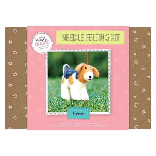 Simply Make Kit - Needle Felt Terrier, easy needle felting kit, image shows brown and pink box with image of finished brown and white terrier on front, Kit contains:  Felting wool Polystyrene body shapes 2 x felting needles Instructions Size: Box: (l) 25.2cm x (w) 18cm x (d) 6.9cm