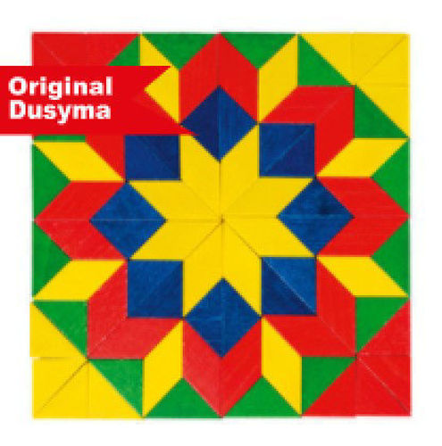 Star Mosaic activity, 80 coloured wooden shapes to make endless mosaic shapes, colours yellow, green, red and blue, Size: approx. (l) 5cm x (d) 0.8cm. Box: (l) 25cm xm (w) 25cm.
