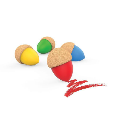Cork Easy Grip Acorn Crayons, set of 4 crayons one each red blue green and yellow, cork backing, set includes cotton drawstring storage bag