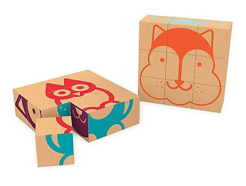 9 Piece Cork Cube Puzzle, 6 different puzzles ix n one, images include fox owl cat etc. Each is colour coded. Boxed.