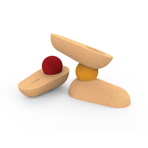 Cork Stacking Pebbles Activity, cork shapes that fit neatly together in many ways, 3 x cork cups and 2 x balls in red and yellow, Size: 15 x 13.5 x 20cm.