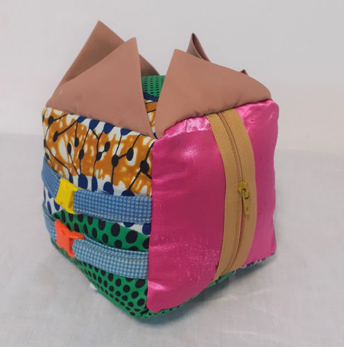 Fidget Cube - Small, fun tactile fabric cube for fidgety hands, Fun handmade fabric cube with colourful textured fabrics and attachments to keep restless fingers busy.  Specially designed for anyone living with a dementia, ADHD or Autism and can help reduce anxiety and provide comfort.  Features beads, buttons, loops, zip , size: 11cm x 11cm.