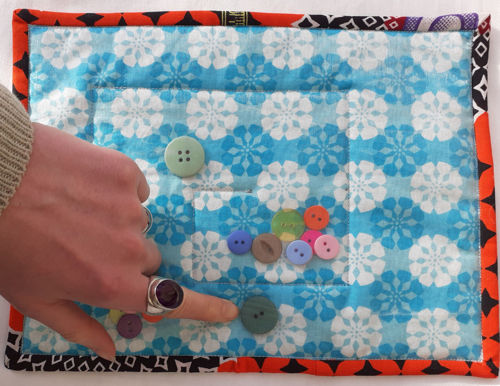 Fidget Activity Mat - Mini Button Maze, tactile fabric mat for anyone with a dementia, Mat features:  textured fabrics assorted buttons maze, size; 18cm x 24cm, not suitable for small children due to small parts.