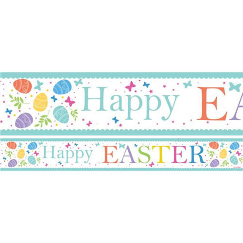 Easter Paper Banner (pack of 3), seasonal banner with white background and pastel Easter eggs with Happy Easter writing, images show one banner and close up image of design above, size: (l) 1 metre x (w) 13.5cm.