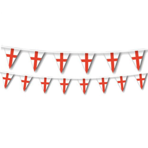 England Flag Bunting, plastic bunting with white background and red cross, image shows 2 rows of bunting, size: (l) 7m x (h) 30cm.