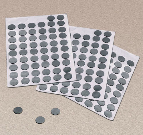 Magnetic Dots, pack of 300 dots with self-adhesive backing, image shows 3 sheets of grey dots with 3 lying separately, size: (dia) 12mm.