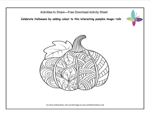 Picture of Pumpkin Colouring Activity